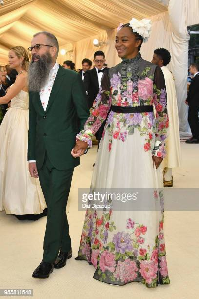 Artists Ari Marcopoulos and Kara Walker attend the Heavenly Bodies Fashion The Catholic Imagination Costume Institute Gala at The Metropolitan Museum...