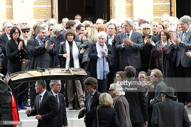 Artists attend actor Pierre Mondy's funeral at Eglise SaintHonored'Eylau on September 20 2012 in Paris France