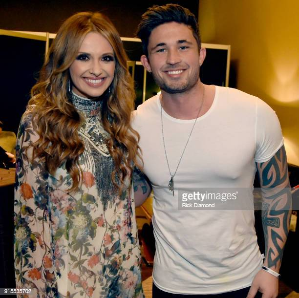 Artists Carly Pearce and Michael Ray take photos backstage during New Faces of Country Music Show for Day 3 of CRS 2018 on February 7 2018 in...