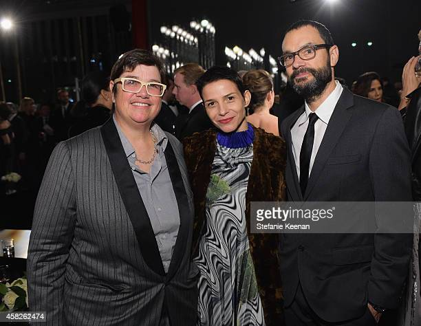 Artists Cathy Opie Ana Prvacki and Sam Durant attend the 2014 LACMA Art Film Gala honoring Barbara Kruger and Quentin Tarantino presented by Gucci at...