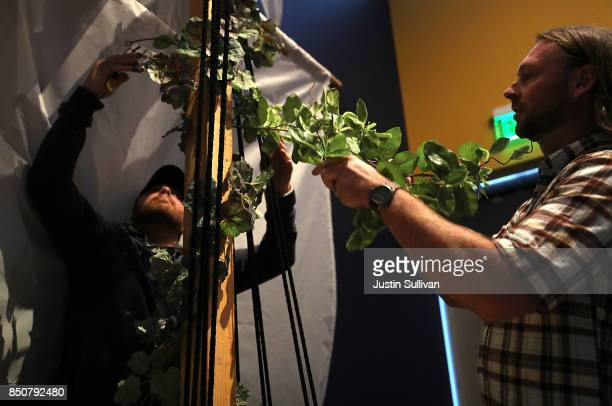 Artists Chris Treggiari and Peter Foucaulton work on their Ghost Ship art installation at the Oakland Museum of California on September 21 2017 in...