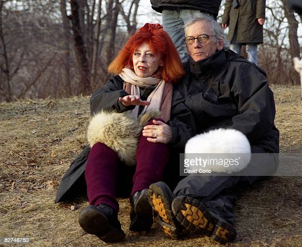 Artists Christo and his wife and collaborator JeanneClaude sit in Central Park on the last day of the installation of The Gates on February 27 2005...