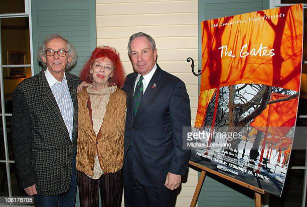 Artists Christo and JeanneClaude and Mayor Michael Bloomberg attend the HBO Documentary Films Screening of The Gates at Gracie Mansion in New York...