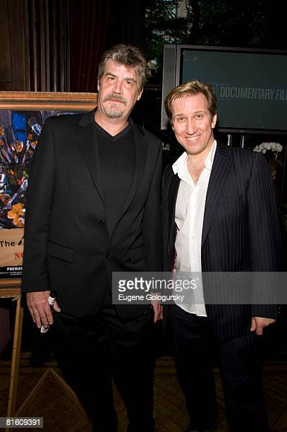 Artists Chuck Connelly and Mark Kostabi attend the premiere of The Art of Failure Chuck Connelly Not For Sale at the National Arts Club on June 17...