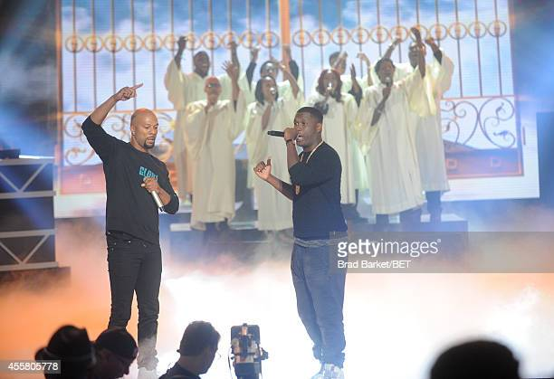 Artists Common and Jay Electronica perform onstage during the BET Hip Hop Awards 2014 at Boisfeuillet Jones Atlanta Civic Center on September 20 2014...