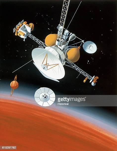 Artist's conception of a moment from the Cassini Mission proposed for launch in April 1996 An interplanetary space probe descends towards Saturn's...