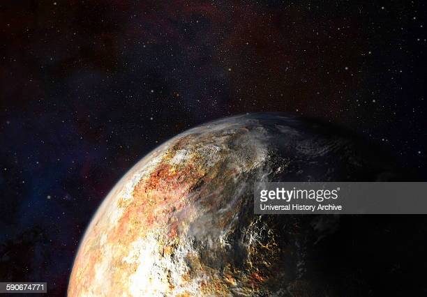 Artist's conception of clouds in Pluto's atmosphere.