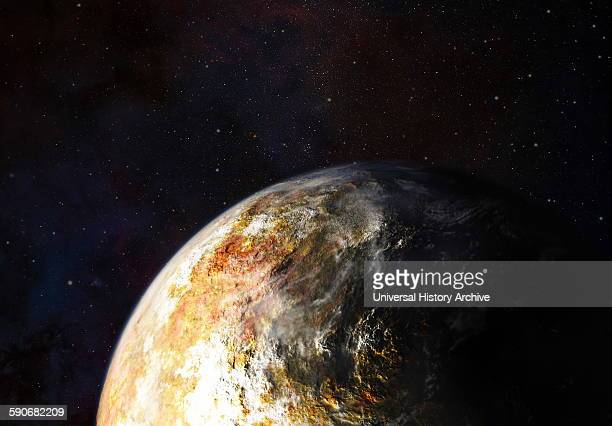 Artist's conception of clouds in Pluto's atmosphere
