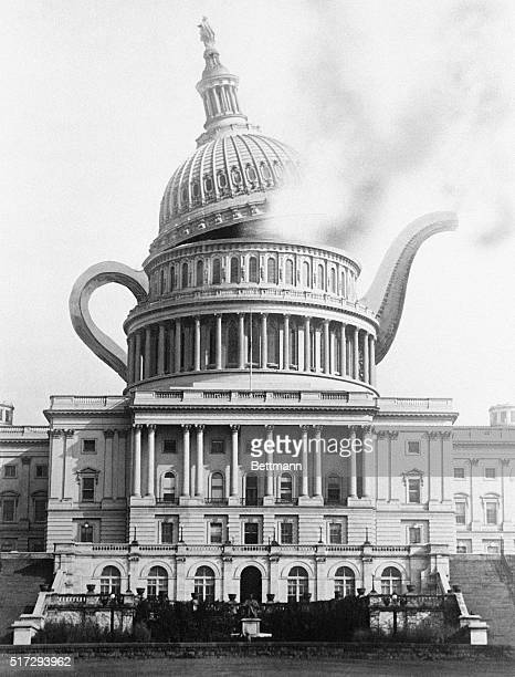 Artist's conception of the famous Teapot Dome Scandal over oil leases