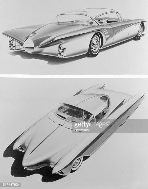 Artists' conception of two experimental model cars to be exhibited to visitors at the annual General Motors Automobile show in key cities around the...