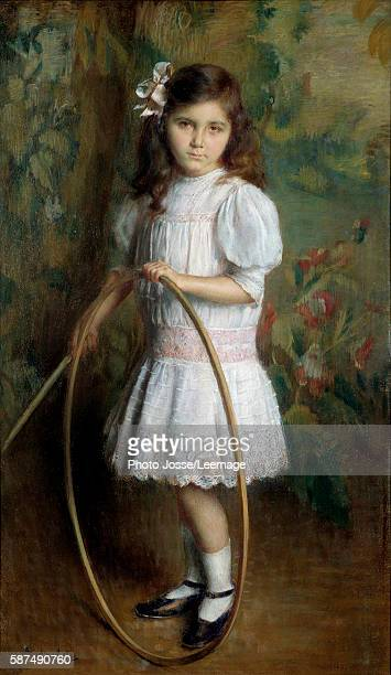 Artist's daughter with a hoop Painting by Alexis Axilette 1909 BeauxArts Museum Angers France