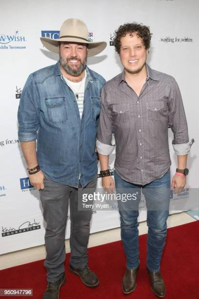 Artists David Tolliver and Chad Warrix of Halfway to Hazard attend the 17th annual Waiting for Wishes celebrity dinner at The Palm on April 24 2018...