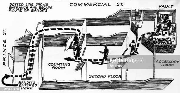 Artist's diagram of offices of the Brink's INC here shows how seven grotesquely masked gunmen entered the building and confronted five employees and...