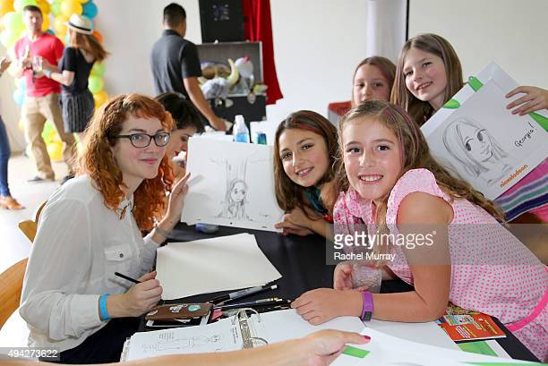Artists draw for children in the Nickelodeon Animation Station during the Elizabeth Glaser Pediatric AIDS Foundation 26th Annual A Time For Heroes...