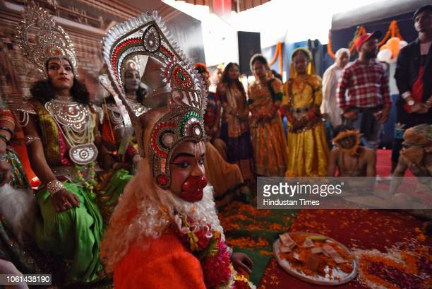 Artists dressed as Hindu Gods inaugurates a tourist train Ramayana Express by Indian Railway Catering and Tourism Corporation from Safdarjung railway...