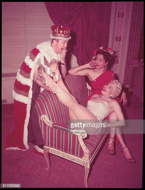 Artists Equity 'Bal Fantastique' King of the Ball 'Red' Buttons yawns as Kiddy Kelly Mistress of the Ball shows off her gams Vashi Draper looks on