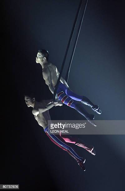 Artists from Canadian circus group Cirque du Soleil perform 'Delirium' onstage at the O2 arena in London on April 17 2008 The theme of Cirque du...