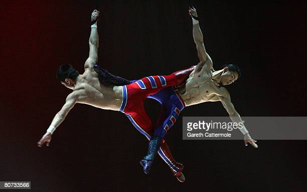 Artists from Cirque du Soleil perform 'Delirium' onstage at the O2 arena on April 17 2008 in London England