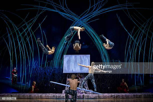 Artists from Cirque Du Soleil perform during a dress rehearsal for Cirque du Soleil's Amaluna at Royal Albert Hall on January 11 2017 in London...