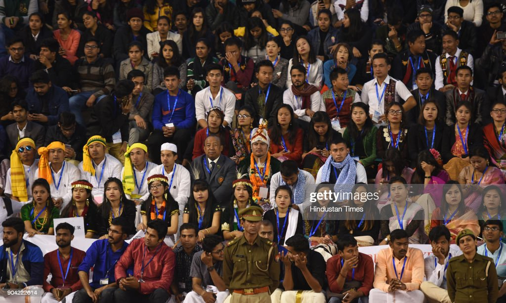 Artists from Diffrent states during the 22nd National Youth Festival at Gautam Buddha University, on January 12, 2018 in Greater Noida, India.