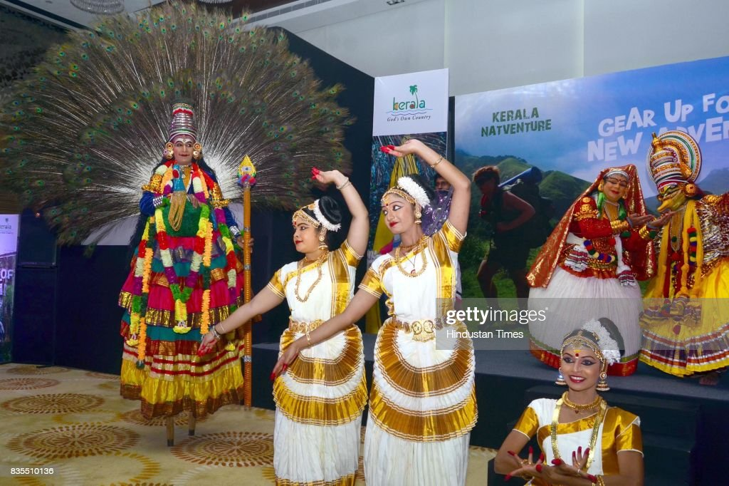 Artists from Kerala perform during a show organised to promote tourism by Kerala Tourism Department, on August 19, 2017 in Amritsar, India.