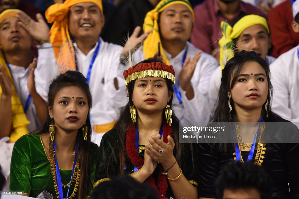 Artists from Manipur during the 22nd National Youth Festival at Gautam Buddha University, on January 12, 2018 in Greater Noida, India.