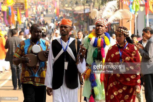 Artists from South Sudan during the 34th Surajkund International Crafts Mela on February 10, 2020 in Faridabad, India.