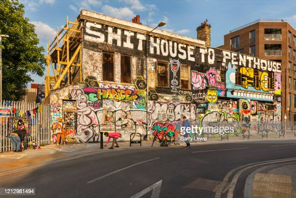 Artists gathering for a memorial to a street person who died during the coronavirus pandemic on the 7th May 2020 in London, United Kingdom. Hackney...