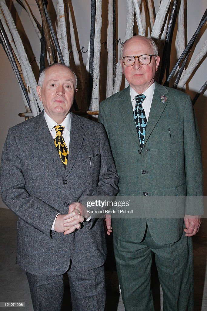 Artists Gilbert and George attend the opening of Thaddaeus Ropac's new gallery on October 13, 2012 in Pantin, France.