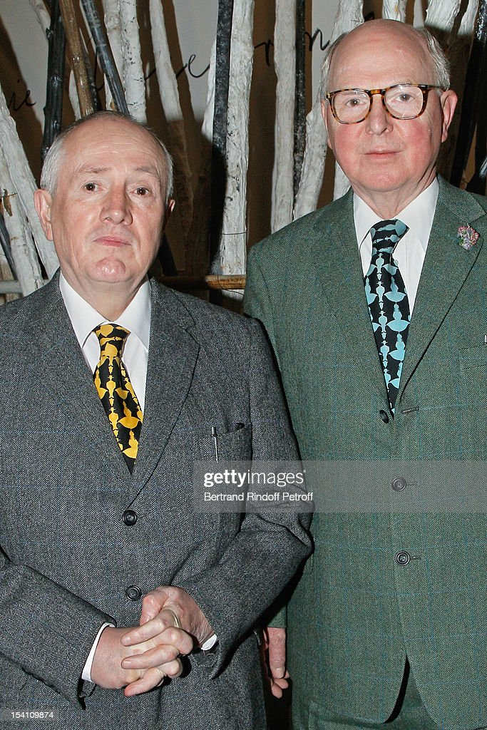 Artists Gilbert (L) And George attend the opening of Thaddaeus Ropac's new gallery on October 13, 2012 in Pantin, France.