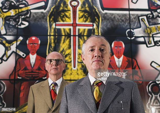 Artists Gilbert and George attend the Private View for their latest exhibition Sonofagod Pictures Was Jesus Heterosexual at White Cube Hoxton Square...