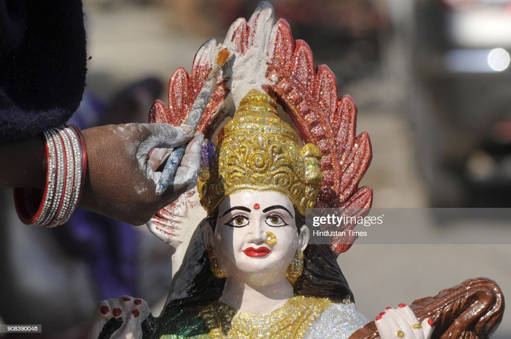 Artist Gives Final Touches To Idols A Day Before Saraswati Puja