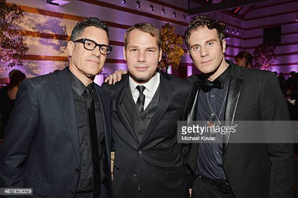 Artists Gregory Siff Shepard Fairey and James Georgopoulos attend The Art of Elysium's 7th Annual HEAVEN Gala presented by MercedesBenz at Skirball...