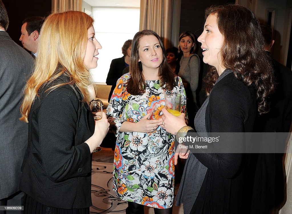 Artists Hester Jones (L) and Emma Critchley attend the Corinthia Artist In Residence winners announcement at Corinthia Hotel London on January 13, 2012 in London, England.