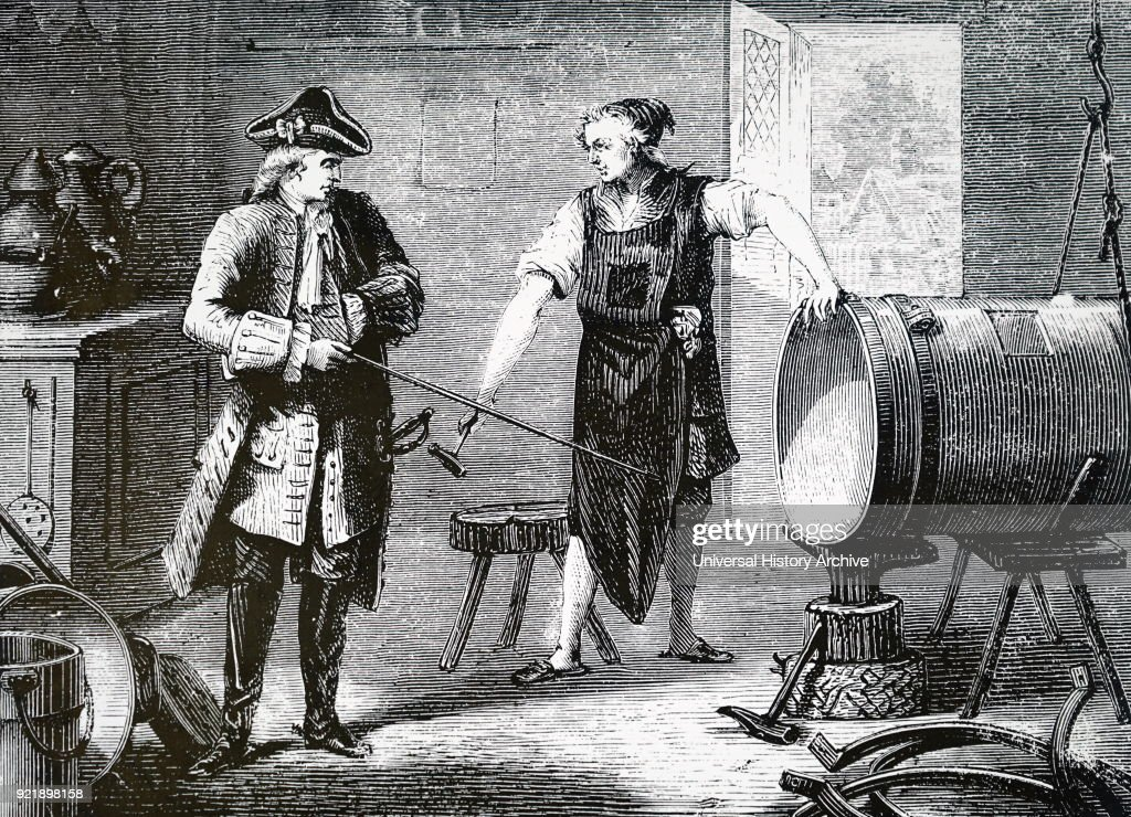 Artist's impression of Claude-Francois-Dorothee, marquis de Jouffroy d'Abbans supervising the manufacture of the cylinder for his steam engine. Claude-Francois-Dorothee, marquis de Jouffroy d'Abbans (1751-1832) who is claimed to be the first inventor of the steamboat. Dated 19th century.