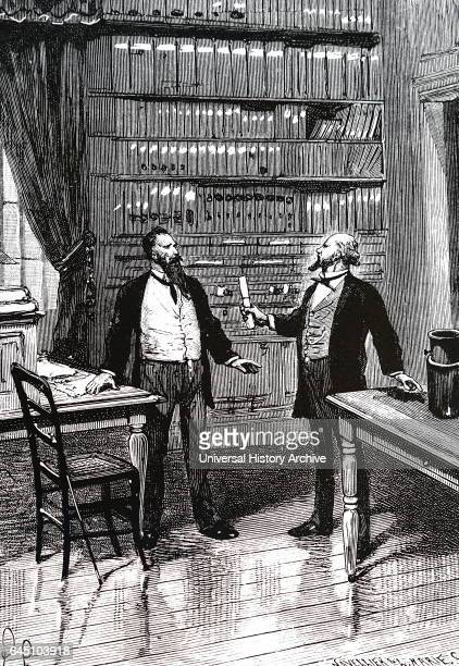 Artist's impression of Elisha Gray presenting his caveat for his telephone at the United States Patent Office at 4 pm on 14th February 1876 just two...