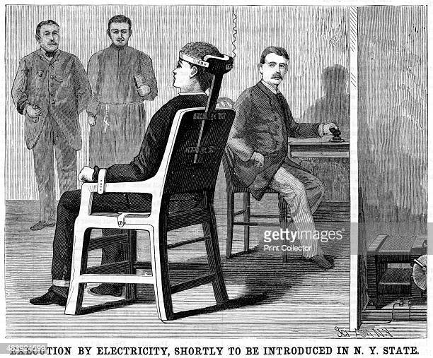 Artist's impression of execution by electric chair 1890 After experiments on animals to ensure the practicability of electrocution as method of...