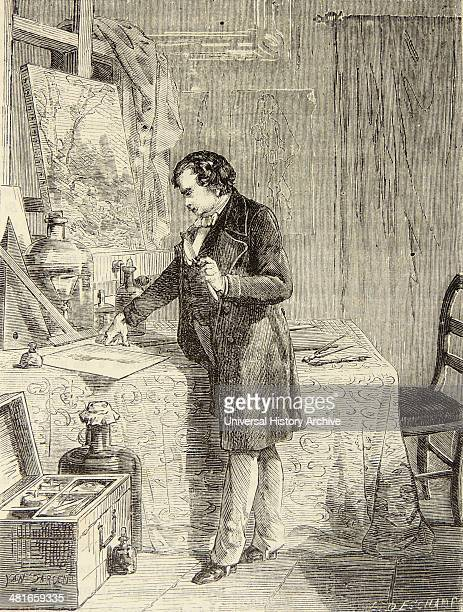 Artist's impression of Louis Daguerre French pioneer of photography discovering the sensitivity to light of silver iodide Engraving Paris c1870