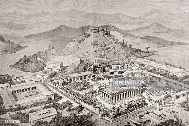Artist's Impression Of Olympia Greece At The Time Of The Ancient Olympic Games From El Mundo Ilustrado Published Barcelona 1880