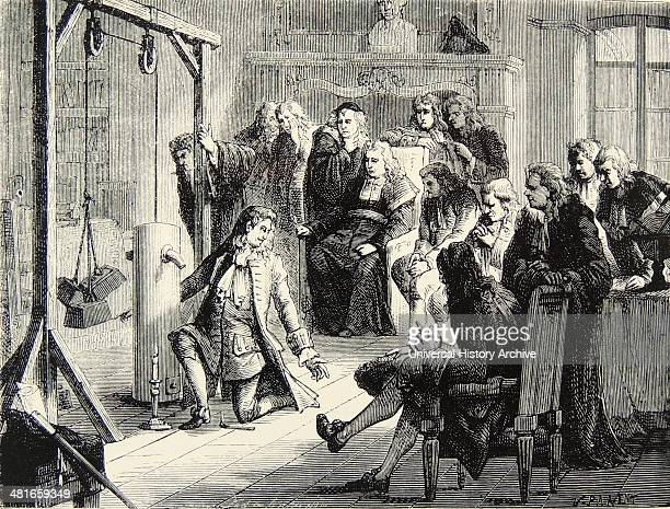 Artist's impression of the French physicist Denis Papin demonstrating his steam engine at Marburg c1688 Engraving Paris c1870