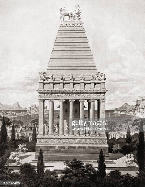 Artist's impression of The Mausoleum at Halicarnassus or Tomb of Mausolus a tomb built between 353 and 350 BC at Halicarnassus for Mausolus a satrap...