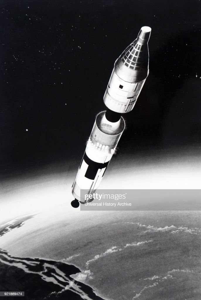 Artist's impression of the separation stage of the Gemini-Titan II. Gemini-Titan II was an American expendable launch system derived from the Titan II missile, which was used to launch twelve Gemini missions for NASA between 1964 and 1966. Dated 20th century.