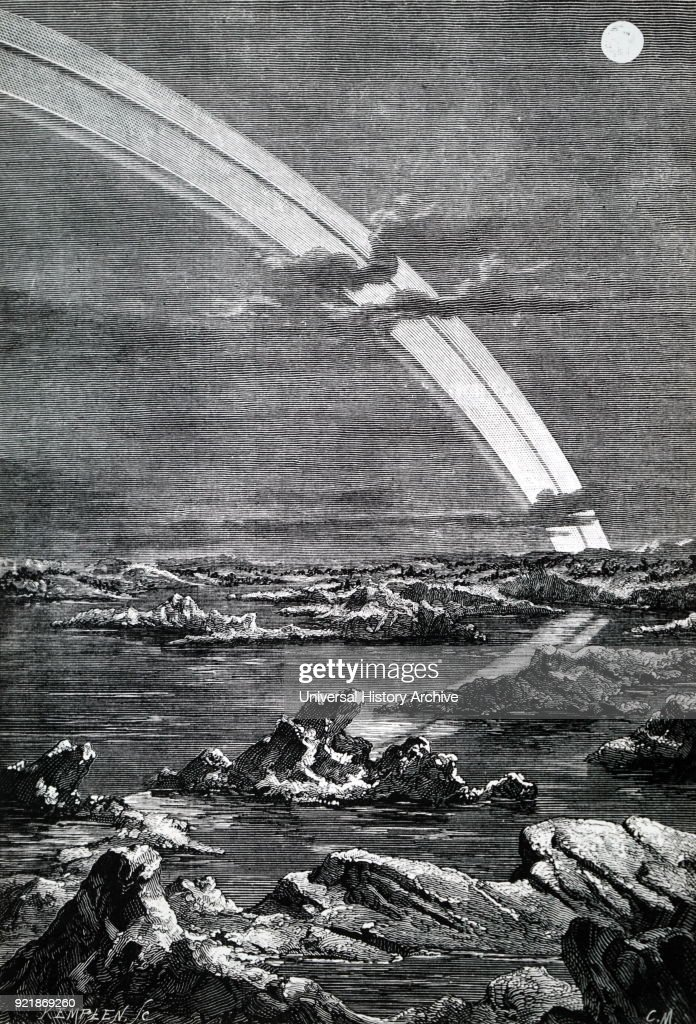 Artist's impression of the view from the surface of Saturn looking outwards to the planet's rings. Dated 19th century.