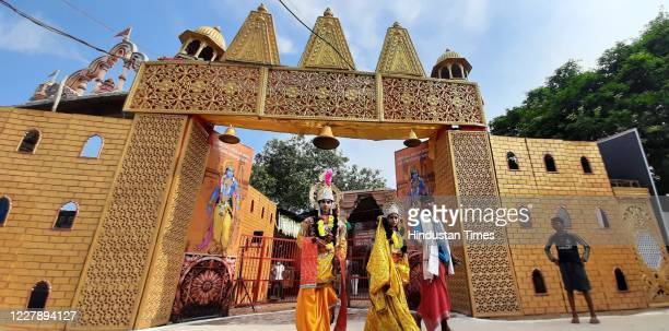 Artists in costume at Karsevak Puram ahead of the foundation stone laying ceremony of the Ram Janmabhumi Temple on August 3 2020 in Ayodhya India