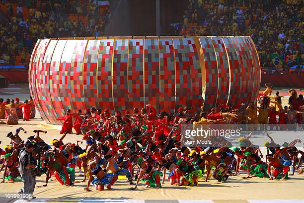 Artists in traditional costumes perform during the opening ceremony of 2010 FIFA World Cup prior to a match between South Africa and Mexico at Soccer...