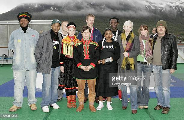 46664 artists including Zucchero and Annie Lennox and musicians from groups Adjagas and Bongo Maffin attend a photocall ahead of June 11 2005 46664...