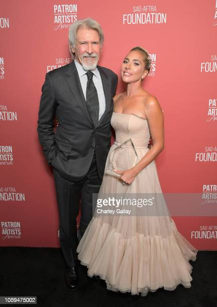 Artists Inspiration Award recipients Harrison Ford and Lady Gaga attend the SAGAFTRA Foundation's 3rd Annual Patron of the Artists Awards at the...