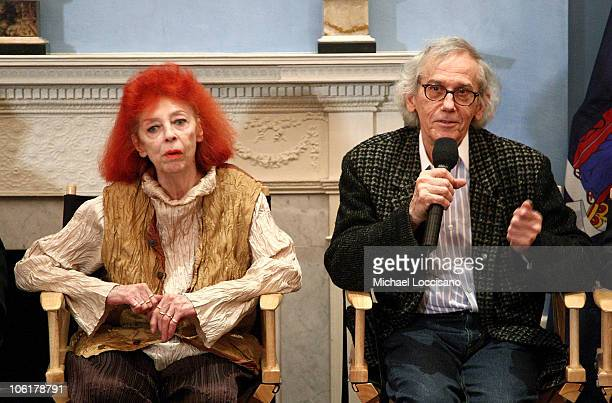 Artists JeanneClaude and Christo address the audience after the HBO Documentary Films Screening of The Gates at Gracie Mansion in New York City on...
