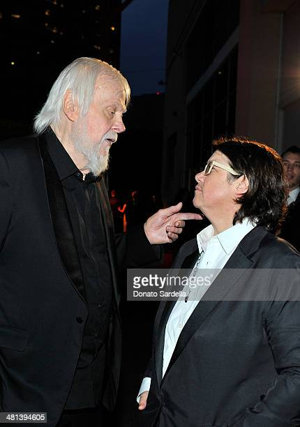 Artists John Baldessari and Cathy Opie attend MOCA's 35th Anniversary Gala presented by Louis Vuitton at The Geffen Contemporary at MOCA on March 29...
