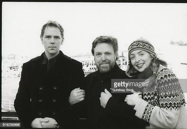 Artists John Currin and Rachel Feinstein pose flanking John Perry Barlow in Soho while planning Currin's and Feinstein's upcoming Valentine's Day...
